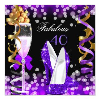 "Fabulous 40 Purple Black Gold Bubbles Party 5.25"" Square Invitation Card"