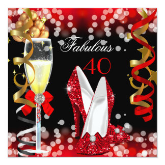 Fabulous 40 Red Black Gold Bubbles Party 5.25x5.25 Square Paper Invitation Card