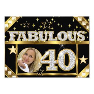 Fabulous 40 Retro Glamour Hollywood Gold Photo 4 Card
