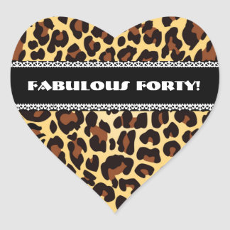 Fabulous 40th Birthday Leopard and Lace A10 Heart Sticker