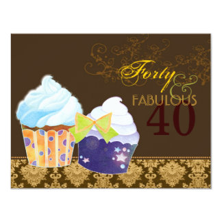 Fabulous 40th Birthday Party Cupcakes 11 Cm X 14 Cm Invitation Card