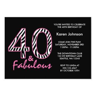 Fabulous 40th Black and Pink Zebra Birthday Card