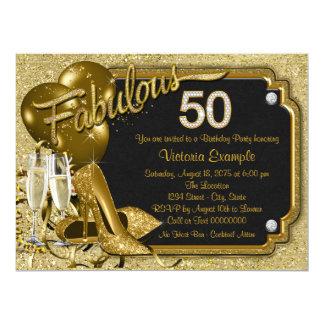 Fabulous 50 Birthday Party 17 Cm X 22 Cm Invitation Card