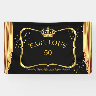 fabulous 50 Black Gold Crown Drapes Birthday party Banner