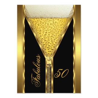 Fabulous 50 Elegant Zipper Gold Beer Drink 2 Card