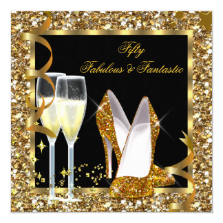 Fabulous 50 Fantastic Black Gold Birthday Party 13 Cm X 13 Cm Square Invitation Card