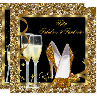 Fabulous 50 Fantastic Black Gold Birthday Party Card