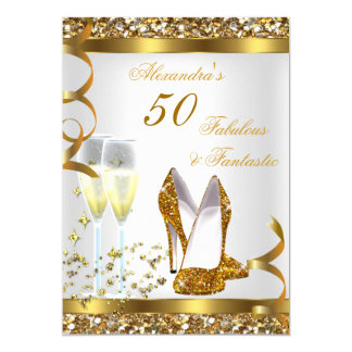 Fabulous 50 & Fantastic Gold Heels Birthday Party Card