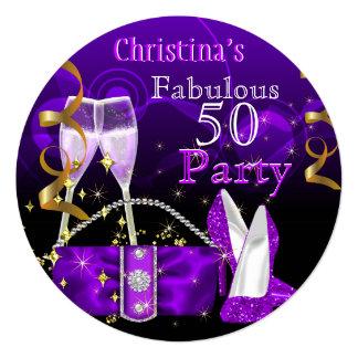 Fabulous 50 Fantastic Purple High Heels Champagne 13 Cm X 13 Cm Square Invitation Card