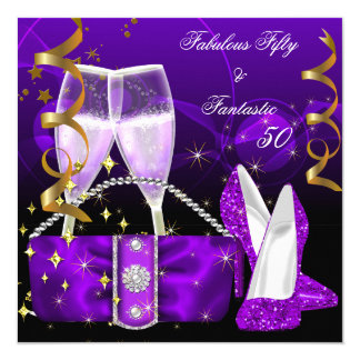 Fabulous 50 Fantastic Purple High Heels Glitter Card