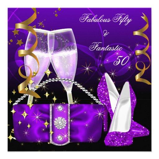 Fabulous 50 Fantastic Purple High Heels Glitter Custom Invite