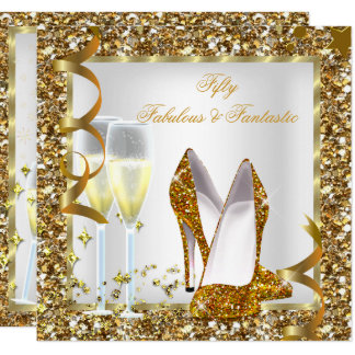 Fabulous 50 & Fantastic White Gold Birthday Party Card