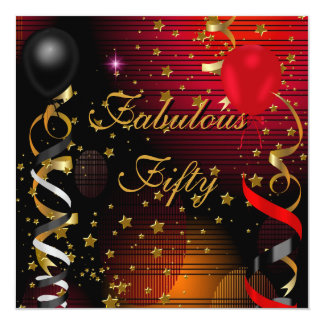 Fabulous 50 Fifty Birthday Party Black Red Stars 2 13 Cm X 13 Cm Square Invitation Card