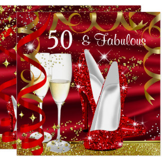 Fabulous 50 Glitter Gold Red High Heels Party Card
