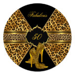 Fabulous 50 Gold Black Leopard Hi Heels Birthday 13 Cm X 13 Cm Square Invitation Card