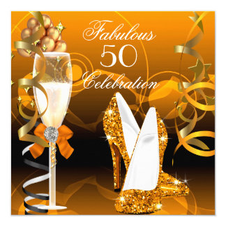 Fabulous 50 Gold Orange Birthday Party Card