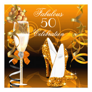Fabulous 50 Gold Orange Birthday Party Personalized Invitations
