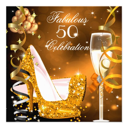 Fabulous 50 Gold Orange High Heels Party 2 Personalized Invite