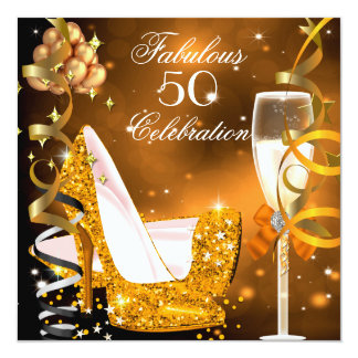 Fabulous 50 Gold Orange High Heels Party 2 13 Cm X 13 Cm Square Invitation Card