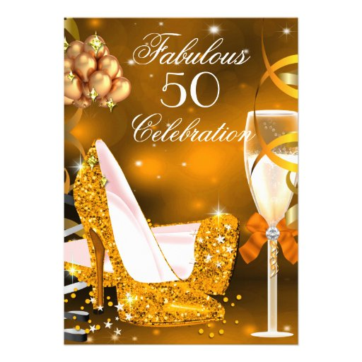 Fabulous 50 Gold Orange High Heels Party 3 Personalized Invitation