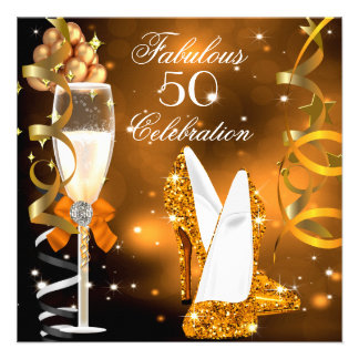 Fabulous 50 Gold Orange High Heels Party Personalized Invitation