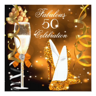 Fabulous 50 Gold Orange High Heels Party 13 Cm X 13 Cm Square Invitation Card