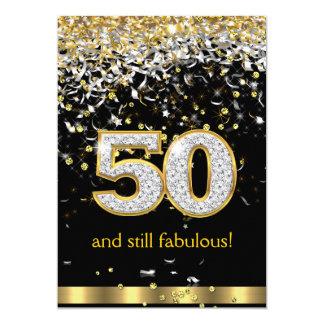 Fabulous 50 Gold Silver Streamers 50th Birthday B 13 Cm X 18 Cm Invitation Card