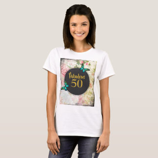 Fabulous 50 Green Butterflies on Vintage Collage T-Shirt