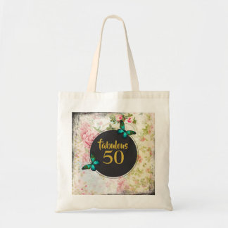 Fabulous 50 Green Butterfly on Vintage Collage Tote Bag