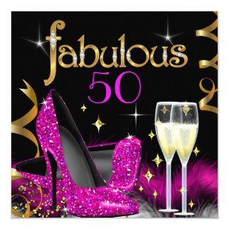 Fabulous 50 Party Pink High Heels Gold Black 13 Cm X 13 Cm Square Invitation Card