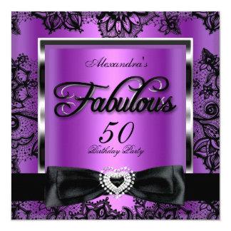 Fabulous 50 Party Purple Damask Black Lace 13 Cm X 13 Cm Square Invitation Card
