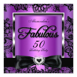 Fabulous 50 Party Purple Damask Black Lace 5.25x5.25 Square Paper Invitation Card