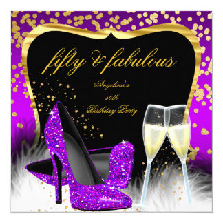 Fabulous 50 Party Purple Magenta Gold Champagne Card
