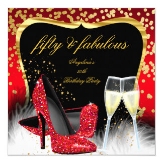 Fabulous 50 Party Red Gold Champagne Glitter Heels 13 Cm X 13 Cm Square Invitation Card