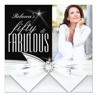 Fabulous 50 Photo Black White 50th Birthday Party Card