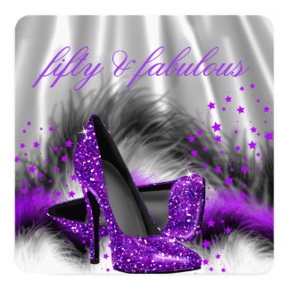Fabulous 50 Purple Silver High Heel Birthday Party 13 Cm X 13 Cm Square Invitation Card