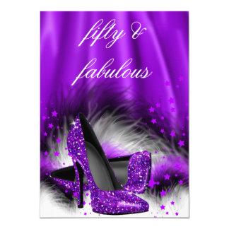 Fabulous 50 Purple Stars High Heels Birthday Party 11 Cm X 16 Cm Invitation Card