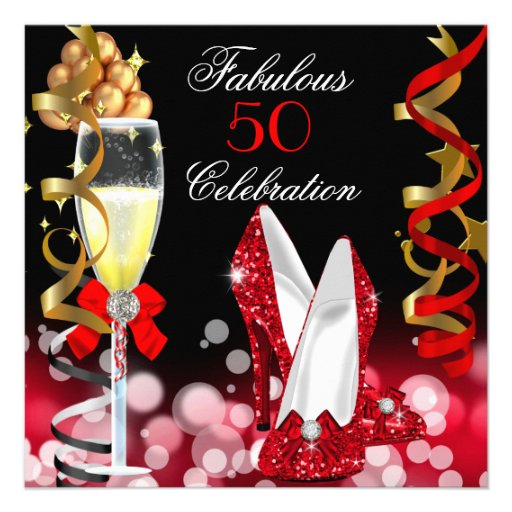 Fabulous 50 Red Black Gold Bubbles Party Personalized Invitation