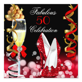 Fabulous 50 Red Black Gold Bubbles Party 5.25x5.25 Square Paper Invitation Card