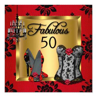 Fabulous 50 Red Black Heels Flirty Birthday Party 13 Cm X 13 Cm Square Invitation Card