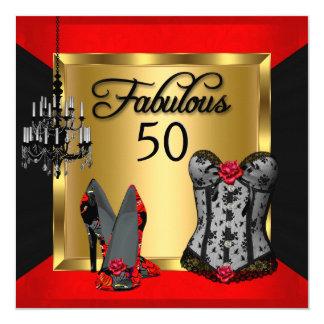 Fabulous 50 Red Black Heels Flirty Birthday Party Card