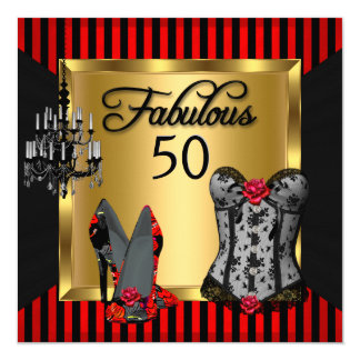 Fabulous 50 Red Black Stripe Heels Flirty Birthday 13 Cm X 13 Cm Square Invitation Card