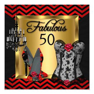 Fabulous 50 Red Black Stripe Heels Flirty Party 13 Cm X 13 Cm Square Invitation Card