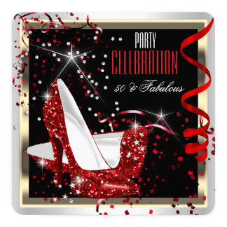 Fabulous 50 Red Black White 50th Birthday Party 2 13 Cm X 13 Cm Square Invitation Card