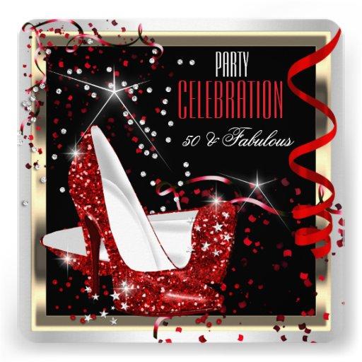 Fabulous 50 Red Black White 50th Birthday Party 2 Custom Invitations