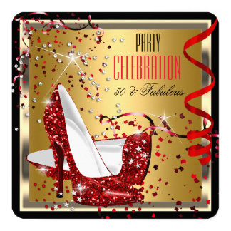 Fabulous 50 Red Heels Gold 50th Birthday Party 2 5.25x5.25 Square Paper Invitation Card