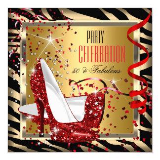 Fabulous 50 Red Heels Zebra Gold 50th Birthday 5.25x5.25 Square Paper Invitation Card