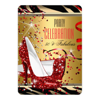 Fabulous 50 Red Heels Zebra Gold Birthday Party 5x7 Paper Invitation Card