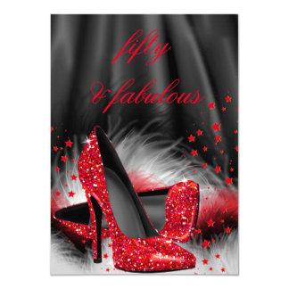 Fabulous 50 Red High Heels Black Silk Birthday 11 Cm X 16 Cm Invitation Card