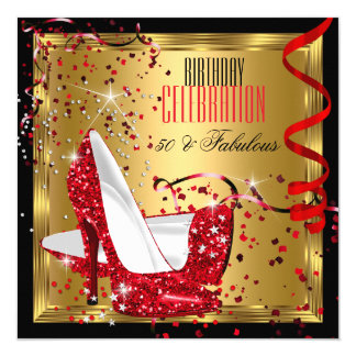 Fabulous 50 Red High Heels Gold Birthday Party 5.25x5.25 Square Paper Invitation Card